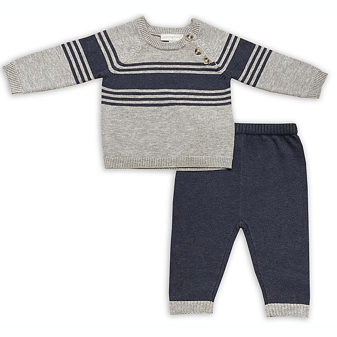 Alternate image 1 for Clasix Beginnings™ by Miniclasix® 2-Piece Stripe Knit Sweater and Pant Set