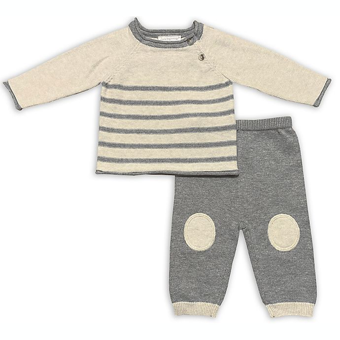 Alternate image 1 for Clasix Beginnings™ by Miniclasix® 2-Piece Stripe Sweater and Pant Set in Grey