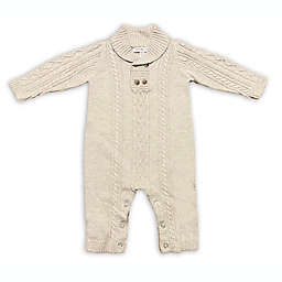Clasix Beginnings™ by Miniclasix® Size 9M Cable Stitch Coverall in Oatmeal
