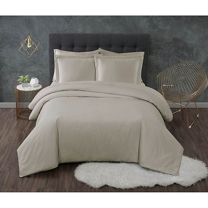Alternate image 1 for Truly Calm® Antimicrobial 2-Piece Twin XL Duvet Set in Khaki