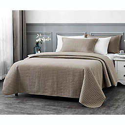Millano Collection Classic 3-Piece King Quilt Set in Taupe