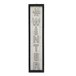 32-Inch Light-Up Plywood Winter Porch Sign in White/Silver