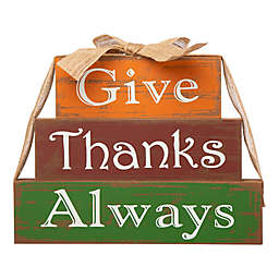 "Glitzhome® ""Give Thanks Always"" Blocks Table Decoration in Orange"