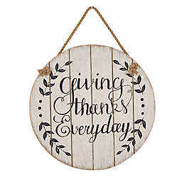 "Glitzhome ""Giving Thanks Everyday"" Wall Sign in White"