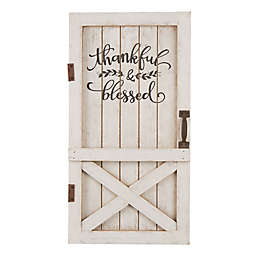 "Glitzhome® ""Thankful & Blessed"" Barn Door Decoration in White"