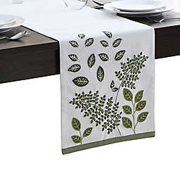 Elrene Botanical Leaves 90-Inch Table Runner in Green