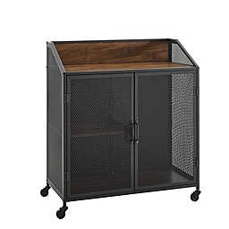Forest Gate™ Industrial Bar Cabinet in Dark Walnut