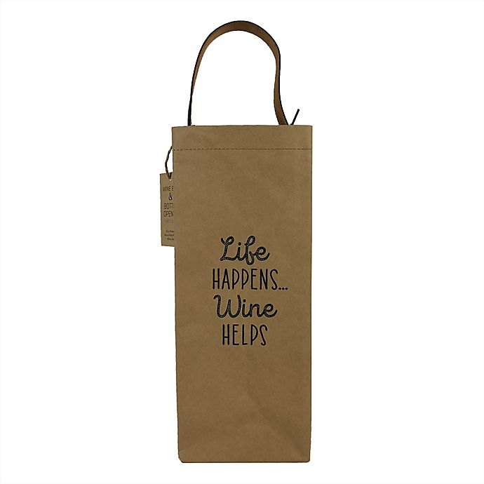 Alternate image 1 for 2-Piece Wine Bag and Bottle Opener Set in Brown