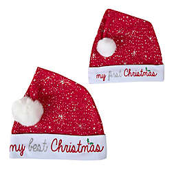 Baby Essentials 2-Piece Mommy and Me Santa Hat Set in Red/White