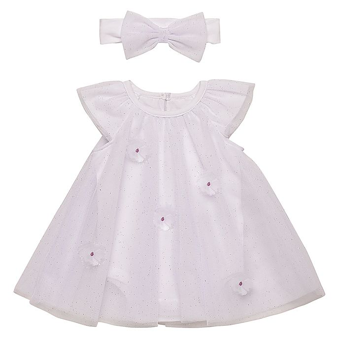 Alternate image 1 for Baby Starters® 2-Piece Tulle Dress and Headband Set in White/Pink