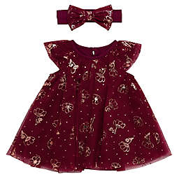 Baby Starters® Tulle Dress and Headband Set in Berry with Rose Gold Flowers