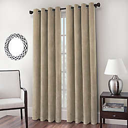 Cadence Chenille Velvet 84-Inch Grommet Window Curtain Panel in Parchment