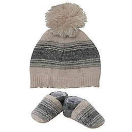 So' Dorable Blue Stripe Hat and Bootie Set