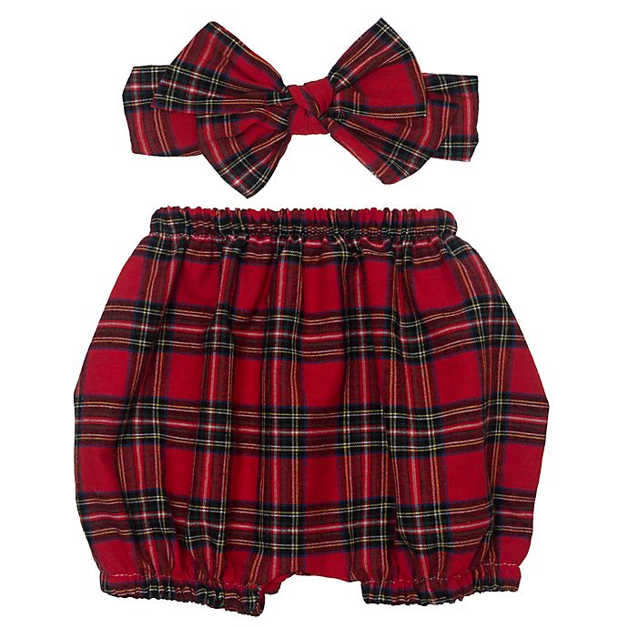 Alternate image 1 for So' Dorable Holiday Plaid Diaper Cover and Headband Set