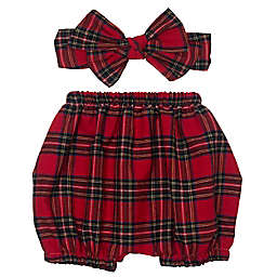 So' Dorable Holiday Plaid Diaper Cover and Headband Set