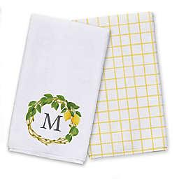 Monogram Lemon Wreath Tea Towel Set