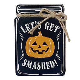 5-Inch Assorted Halloween Mason Jar Tabletop Signs in Black/White