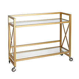 Holly Steel and Glass Rolling Bar Cart