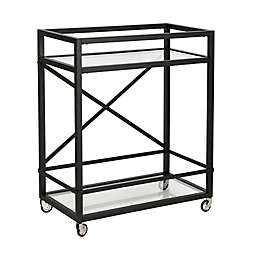 Wilson Steel and Glass Rolling Tall Bar Cart in Blackened Bronze