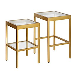 Hudson&Canal® Alexis Brass Finish Nested Side Tables