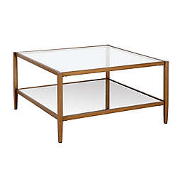 Hudson&Canal® Hera Mirrored Coffee Table in Antique Brass