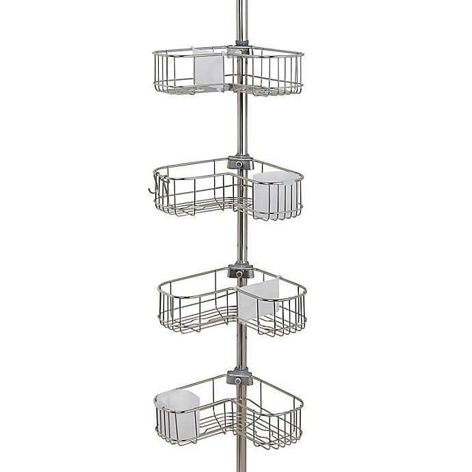 Alternate image 1 for ORG NeverRust® 4-Tier Corner L-Shape Shower Caddy in Stainless Steel