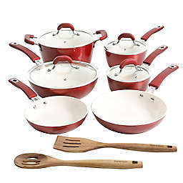 Kenmore Arlington Nonstick Aluminum 12-Piece Cookware Set in Metallic Red