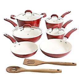 Kenmore Arlington Nonstick Aluminum 12-Piece Cookware Set in Metallic Red