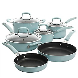 Kenmore Elite Andover Nonstick Aluminum 10-Piece Cookware Set in Glacier