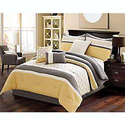 Verdugo 7-Piece Queen Comforter Set in Yellow/Grey