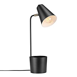 Globe Electric Taylor Desk Lamp with Organizer in Matte Black with Metal Shade