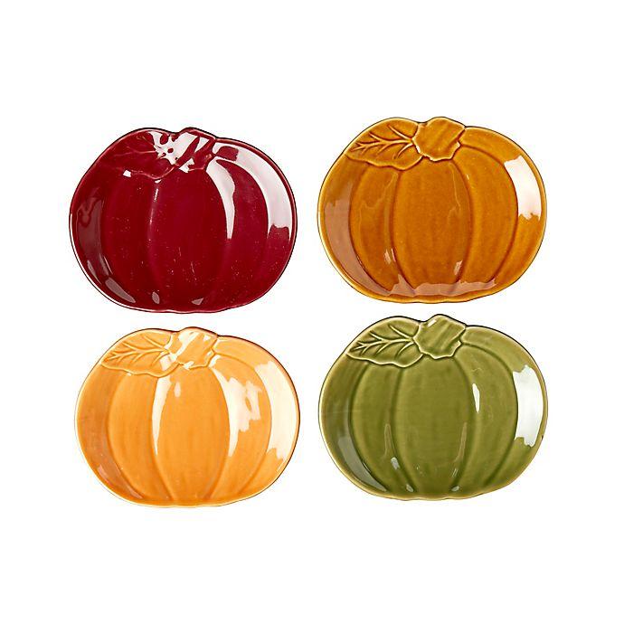 Alternate image 1 for Modern Farmhouse Harvest Pumpkin Appetizer Plates (Set of 4)