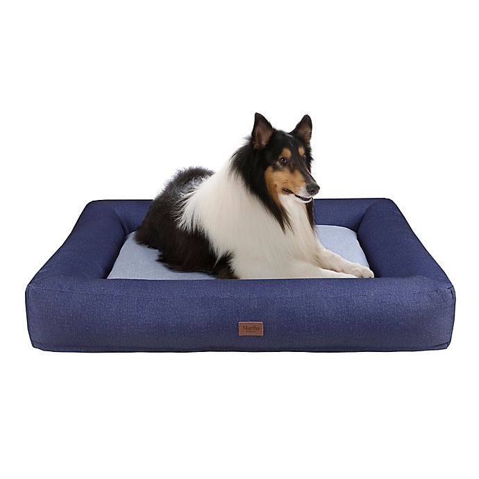 Alternate image 1 for Martha Stewart Madison Denim Bolster Pet Napper with Removable Cover
