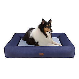 Martha Stewart Madison Denim Bolster Pet Napper with Removable Cover in Navy/Grey