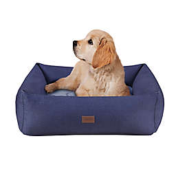 Martha Stewart Charlie 4-Sided Bolster With Ortho Base and Removable Cover in Navy/Grey