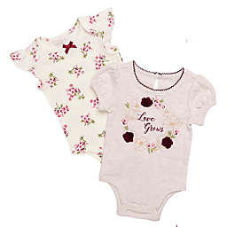 Baby Starters® Size 3M 2-Pack Love Grows and Floral Short Sleeve Bodysuits in Oatmeal