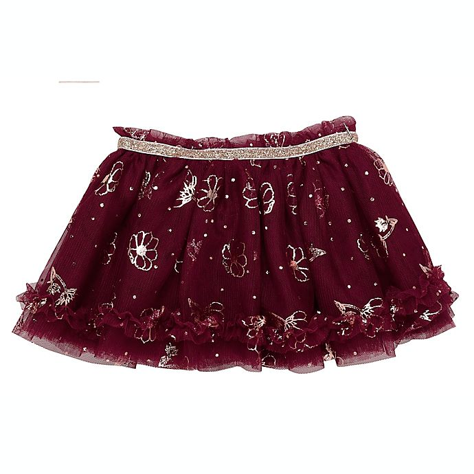 Alternate image 1 for Baby Starters® Size 3M Tutu Skirt in Berry with Flowers and Dots