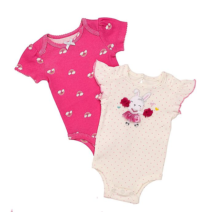Alternate image 1 for Baby Starters® Newborn 2-Pack Bunny and Rainbow Short Sleeve Bodysuits in White