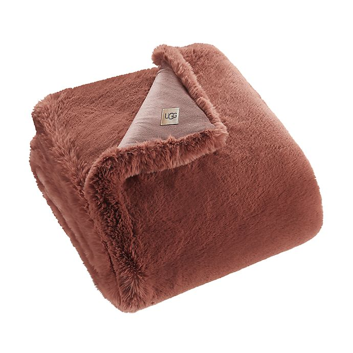 Alternate image 1 for UGG® Mammoth Faux Fur Throw Blanket in Sepia