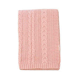 NoJo Kimberly Grant Cable Knit Blanket in Navy in Pink