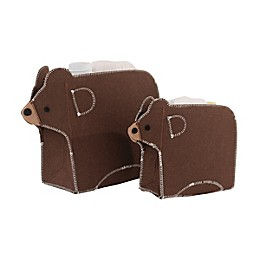Little Love by NoJo® 2-Piece Bear Storage Caddy Set in Brown