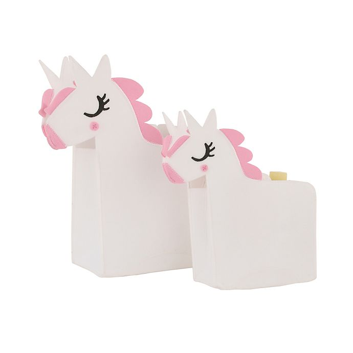 Alternate image 1 for Little Love by NoJo® 2-Piece Unicorn Storage Caddy Set in White
