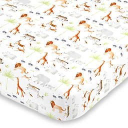 NoJo® Watercolor Jungle Animals Fitted Crib Sheet in Orange