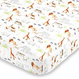 NoJo® Watercolor Jungle Animals Mini Fitted Crib Sheet in Orange