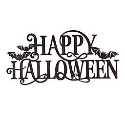 Glitzhome 24-Inch Metal Happy Halloween Wall Sign