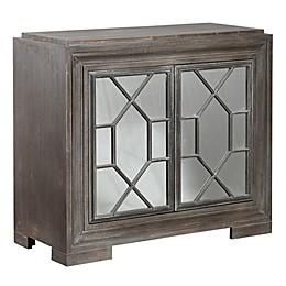 StyleCraft Hex Filigree Mirrored Cabinet in Grey/Linen