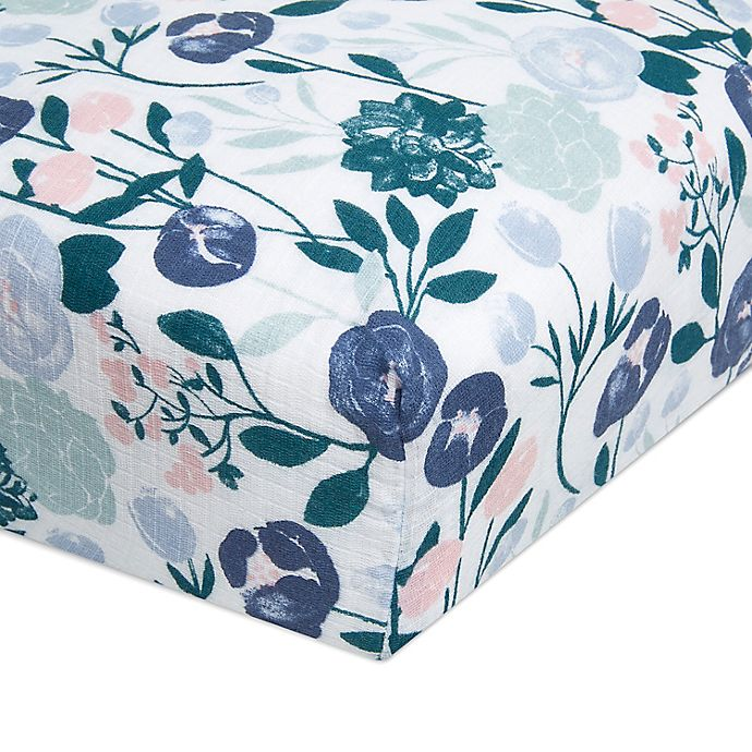 Alternate image 1 for aden + anais ™ essentials Flowers Bloom Muslin Fitted Crib Sheet in Pink