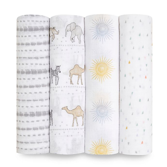 Alternate image 1 for aden + anais essentials® Sunshine 4-Pack Swaddle Blankets in Grey