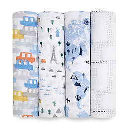 aden + anais essentials® 4-Pack World Swaddle Blankets in Blue