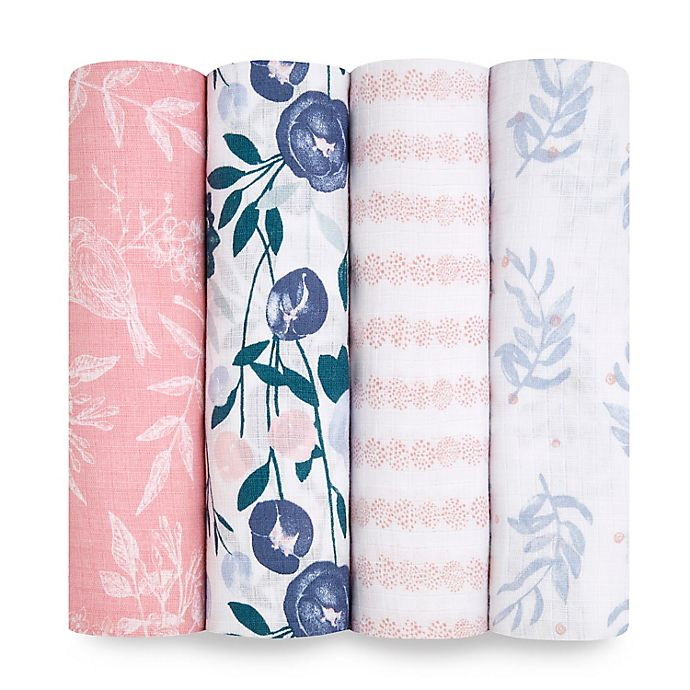 Alternate image 1 for aden + anais essentials® 4-Pack Flowers Swaddle Blankets in Pink